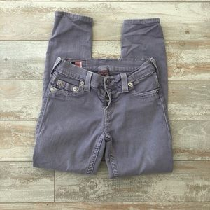Lilac Cropped True Religion Jeans
